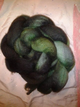 """Green burns to black"" 4 ounces Blue Face Leicester $20.00"