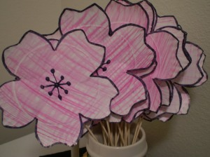 Paper plate cherry blossoms!
