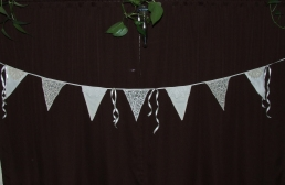 "Old linens and lace wedding bunting, lace flags read ""Mr. & Mrs."""