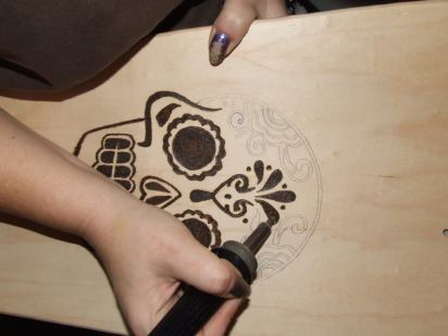 Wood burning the board